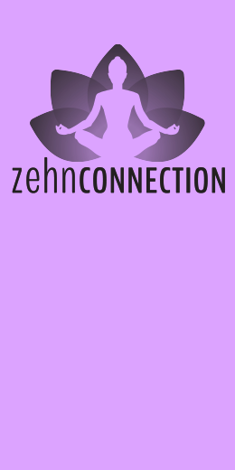 Zehn Connection logo - human figure in lotus position sitting before stylized lotus flower