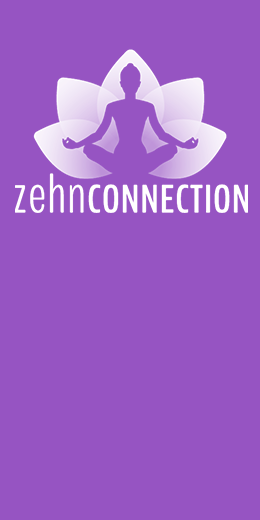 Zehn Connection logo - figure in lotus postion sitting before a stylized lotus flower